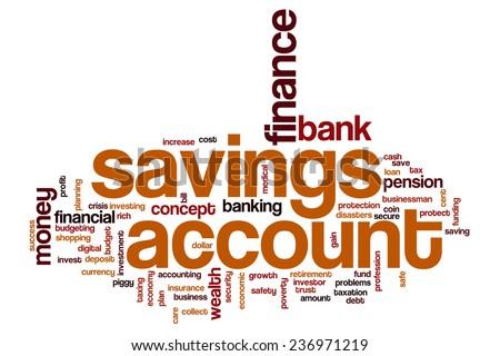 Savings account word cloud concept - stock photo