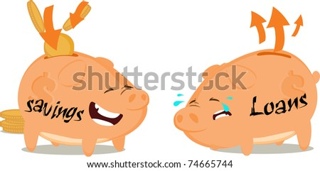 Savings and load piggy banks - stock photo