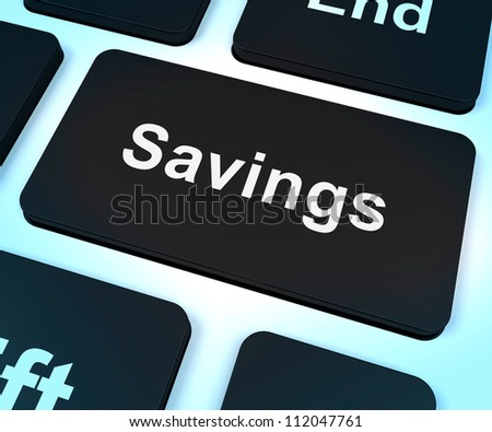 Savings Computer Key Represents Growth And Investment