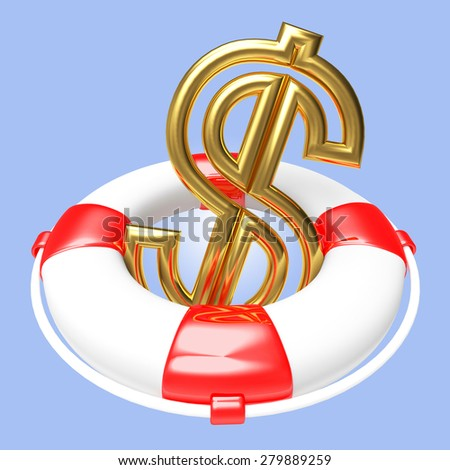 Savings concept. Lifebuoy with Dollar Sign on blue background  - stock photo