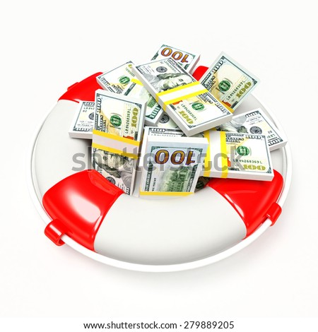 Savings concept. Lifebuoy with heap of Dollar Bills isolated on white background