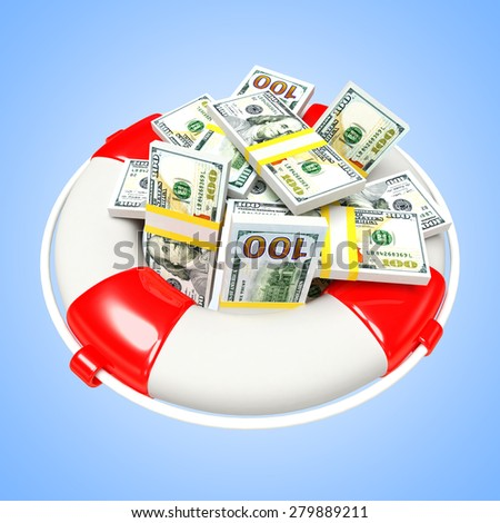 Savings concept. Lifebuoy with heap of Dollar Bills on blue background