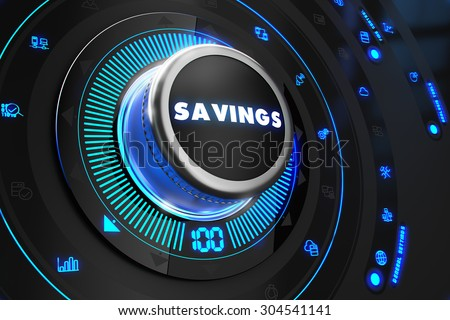 Savings Controller on Black Control Console with Blue Backlight. Improvement, regulation, control or management concept. - stock photo