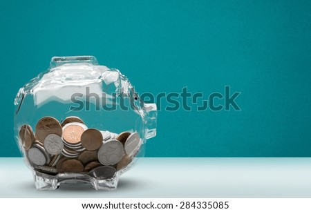 Savings, Currency, Transparent. - stock photo