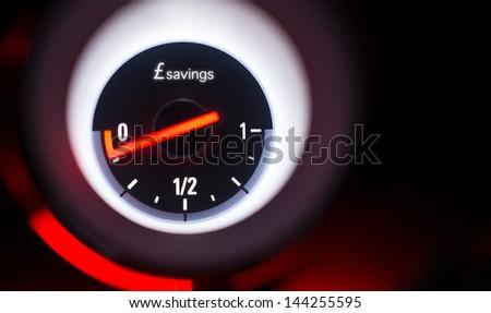 Savings fuel gauge at empty. - stock photo