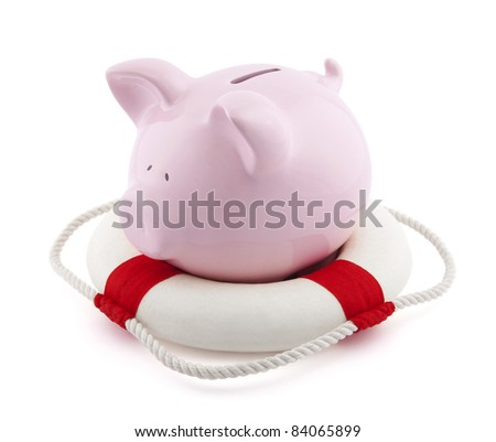Savings help. Piggy bank with Lifebuoy - stock photo
