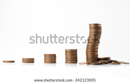 Savings, increasing columns of  coins with white background