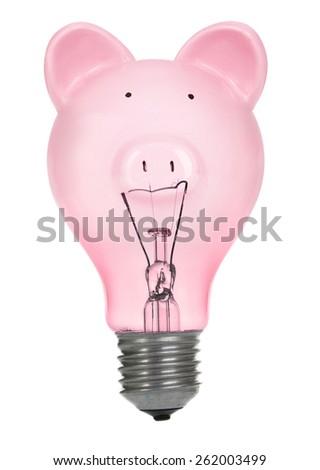 Savings Inspiration - creative saving ideas - Piggy Bank lightbulb on White Background - stock photo