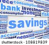Savings message design. Financial conceptual design - stock photo