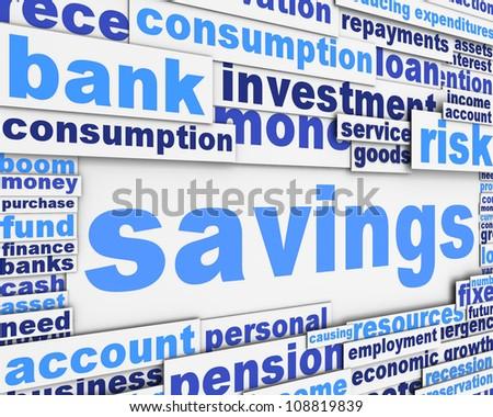 Savings message design. Financial conceptual design - stock photo