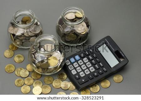 savings money with calculator. financial concept - stock photo