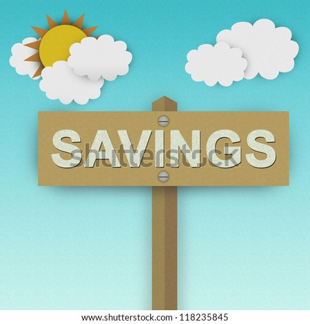Savings Road Sign For Business Solution Concept Made From Recycle Paper With Beautiful Sun and White Cloud in Blue Sky Background - stock photo