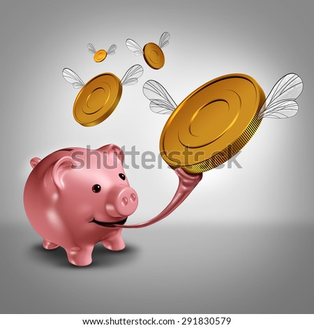 Savings strategy and increasing earnings financial concept as a piggy bank with a long frog tongue catching winged gold currency coins in the air as a money metaphor for budget success. - stock photo