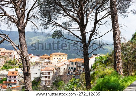 Savoca town in Sicilian mountain, Italy in spring - stock photo