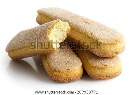 Savoiardi italian sponge biscuits isolated on white. - stock photo