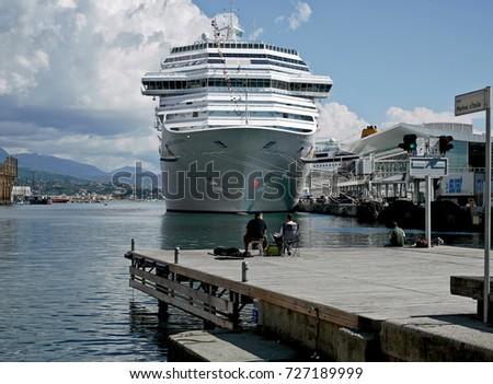 SAVONA, ITALY - SEPTEMBER 17, 2017: the Costa Fascinosa cruise ship in the Ligurian sea port at the cruises terminal.