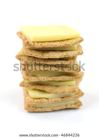 Savory crackers isolated against a white background
