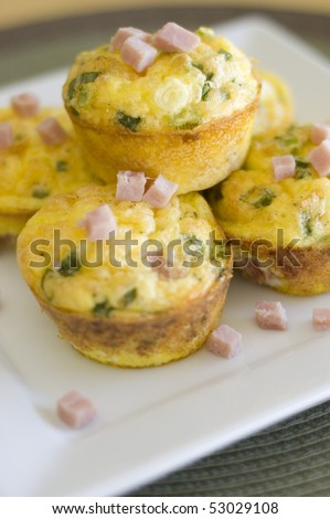 Savory Ham and Scrambled Egg Muffins - stock photo