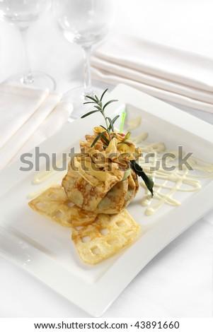 Savory pancake - stock photo