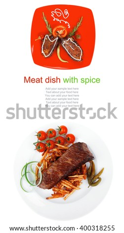savory plate: grilled ribs over red with peppers and rosemary