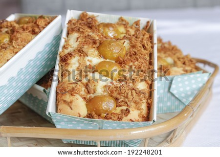 Savory Pound Cake flavored with Salted Duck Egg Yolk and Pork Floss - stock photo