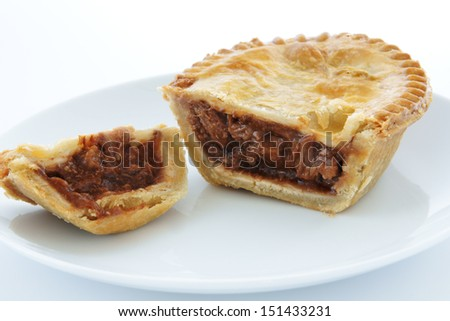 Savoury meat pie with a beef filling on a white plate  sc 1 st  Shutterstock & Savoury Meat Pie Beef Filling On Stock Photo (100% Legal Protection ...