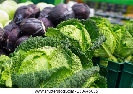 savoy and red cabbage  on the supermarket shelf - stock photo