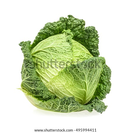 Savoy cabbage isolated on white background