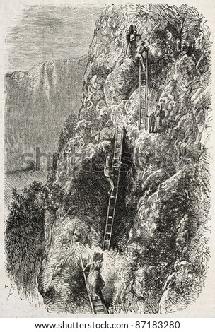 Savoy old view: climbing mountains by wooden stair. Created by Junot, published on L'Illustration, Journal Universel, Paris, 1860 - stock photo