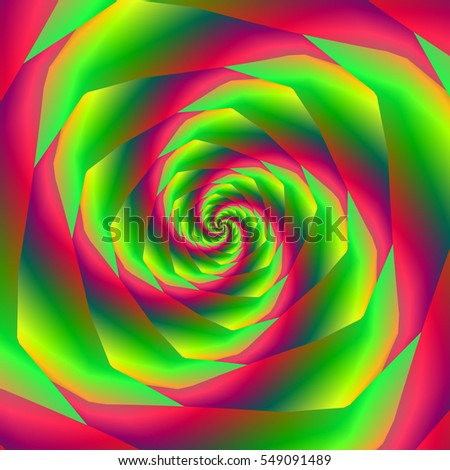 Saw Tooth Spiral in Red and Green / An abstract fractal image with  a saw cut spiral in red green and yellow.