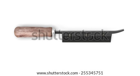 Saw with wooden handle isolated on white background. 3d illustration.
