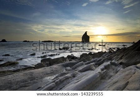 sawarna beach, West Java, Indonesia - stock photo