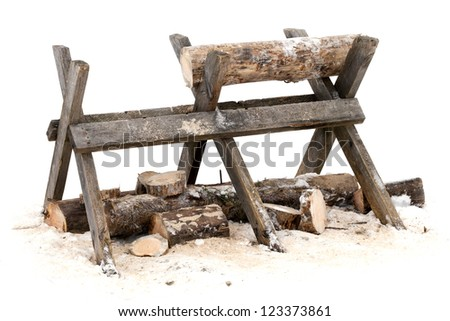 Sawing log on wooden stand on white background - stock photo