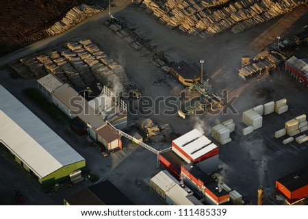 Sawmill, aerial view - stock photo