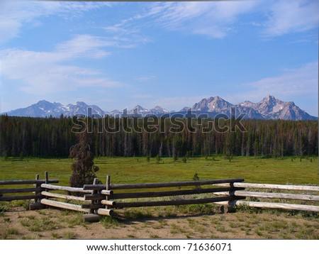 Sawtooth mountain range - stock photo