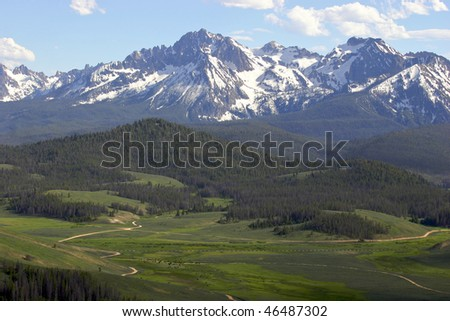 Sawtooth Mountains near Stanley, Idaho - stock photo