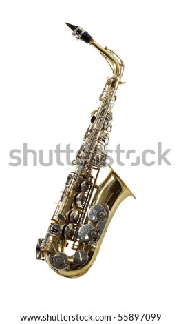 Sax musical instrument on tne white background - stock photo