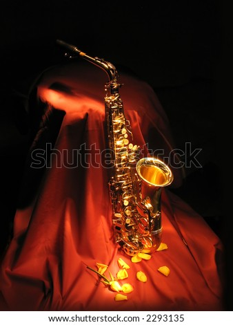 sax on red - stock photo