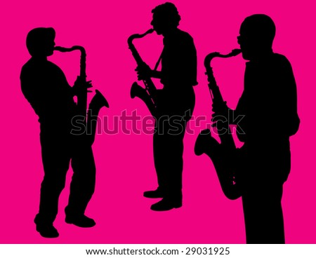 Sax Players on Pink Background - stock photo