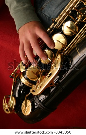 saxaphone fingering - stock photo