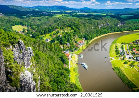 Saxon Switzerland natural reserve near Dresden, Germany. - stock photo