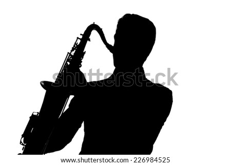 Saxophone amorous player silhouette isolated on white background - stock photo