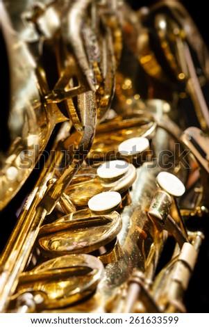Saxophone detail - stock photo