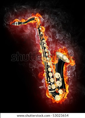 Saxophone in Fire Isolated on Black Background - stock photo