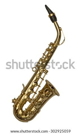 Saxophone isolated on white - stock photo