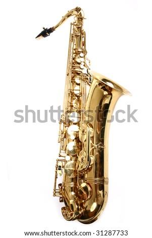 Saxophone isolated on white background - stock photo