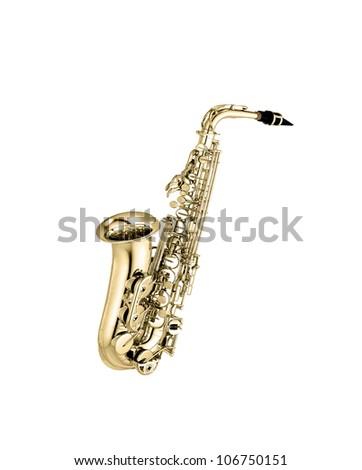 saxophone isolated under the white background - stock photo