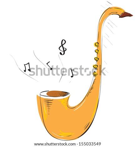 Saxophone music instrument sketch illustration - stock photo