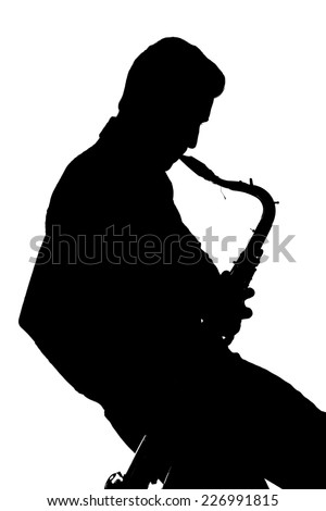 Saxophone player silhouette isolated on white background - stock photo
