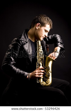 saxophone player with his instrument